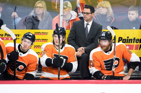 Flyers coach Scott Gordon looks on during a game against the Oilers Saturday, Feb. 2, 2019 at the Wells Fargo Center in Philadelphia, Pa. Flyers won 5-4 in overtime.