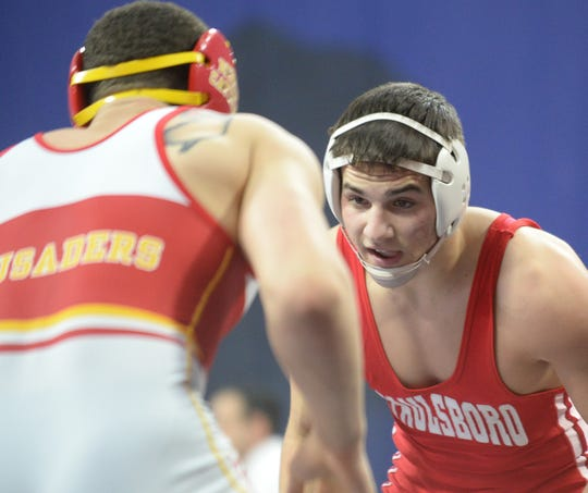 Paulsboro's Santino Morina wrestles against Bergen Catholic in a meet at the Palestra in 2019. On Thurday, Morina learned the wrestling program at Old Dominion where he attends was being eliminated.