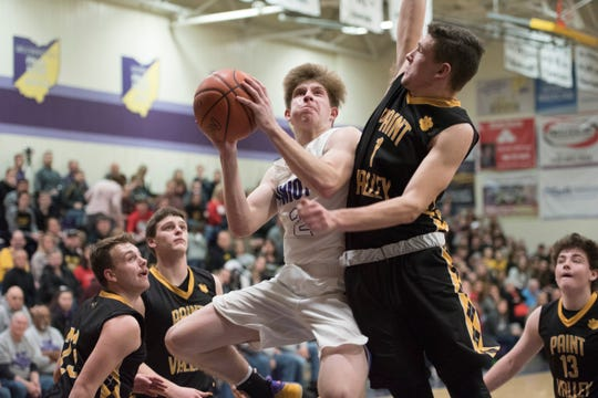 Unioto basketball's Cameron DeBord who scored 22 points and grabbed 11 rebounds in a win over McClain on Saturday.