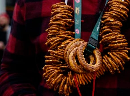 A custom pretzel necklace created at the Cincy Winter Beerfest in the Duke Energy Convention Center, Saturday, Feb. 2, 2019.
