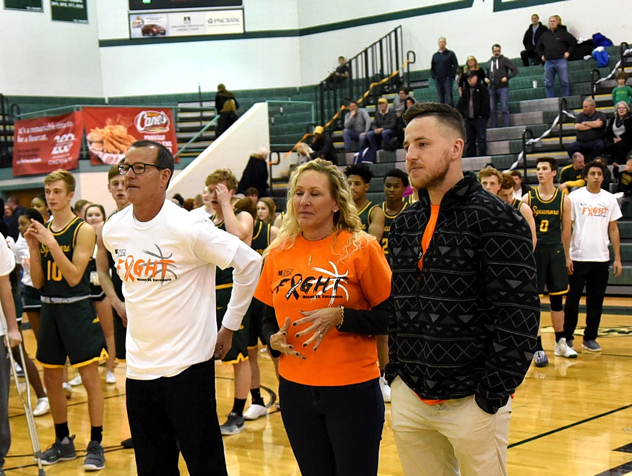 The family of Liz Lothrop is honored at the Third Annual Live for Liz Fight For Cancer Free Kids Basketball Game, Feb. 1, 2019.
