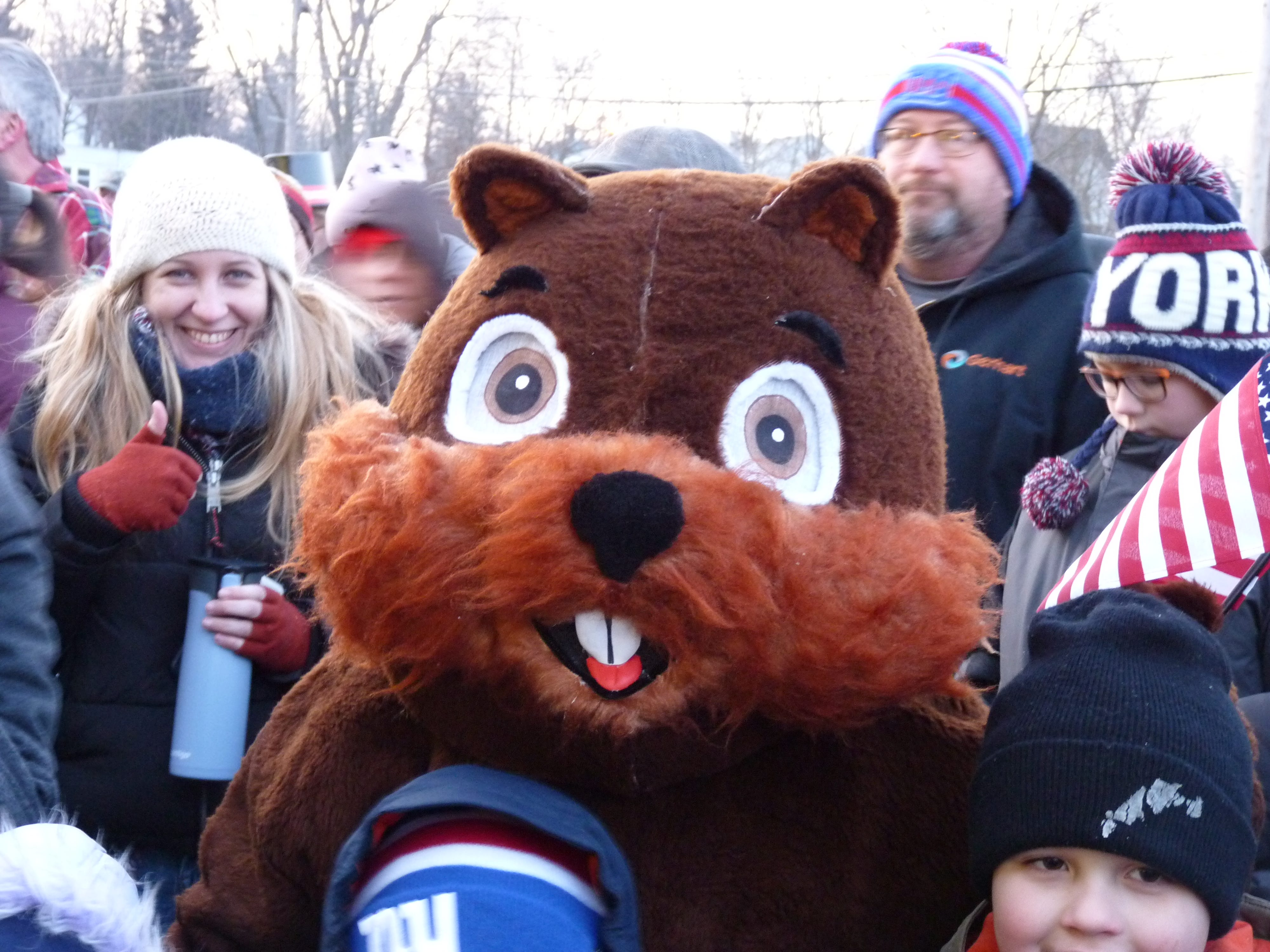 A groundhog mascot in Milltown on Groundhog Day.