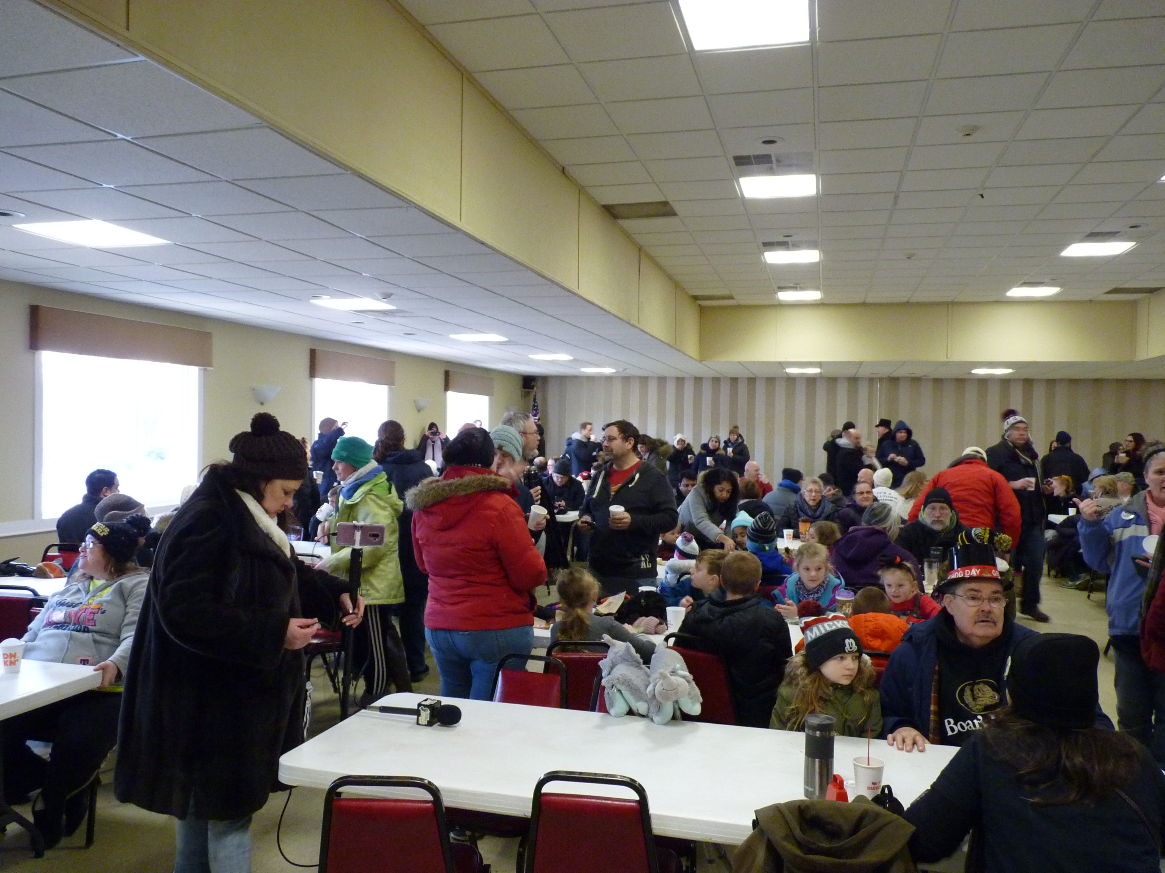 Attendees enjoyed coffee and donuts at the American Legion Post 25 in Milltown after the Groundhog Day prediction.