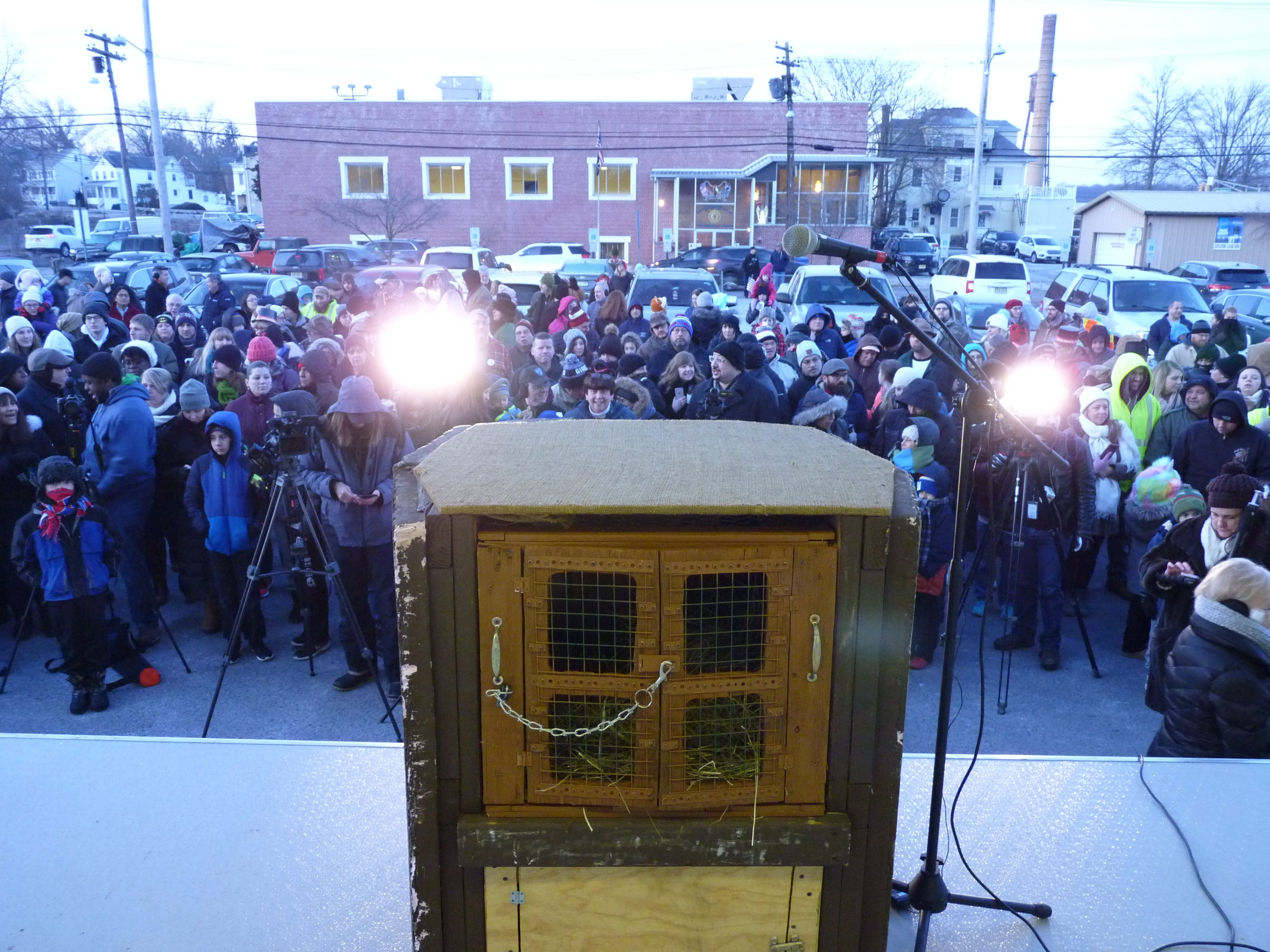 The crowd gathered for Milltown Mel's prediction in Milltown on Groundhog Day.