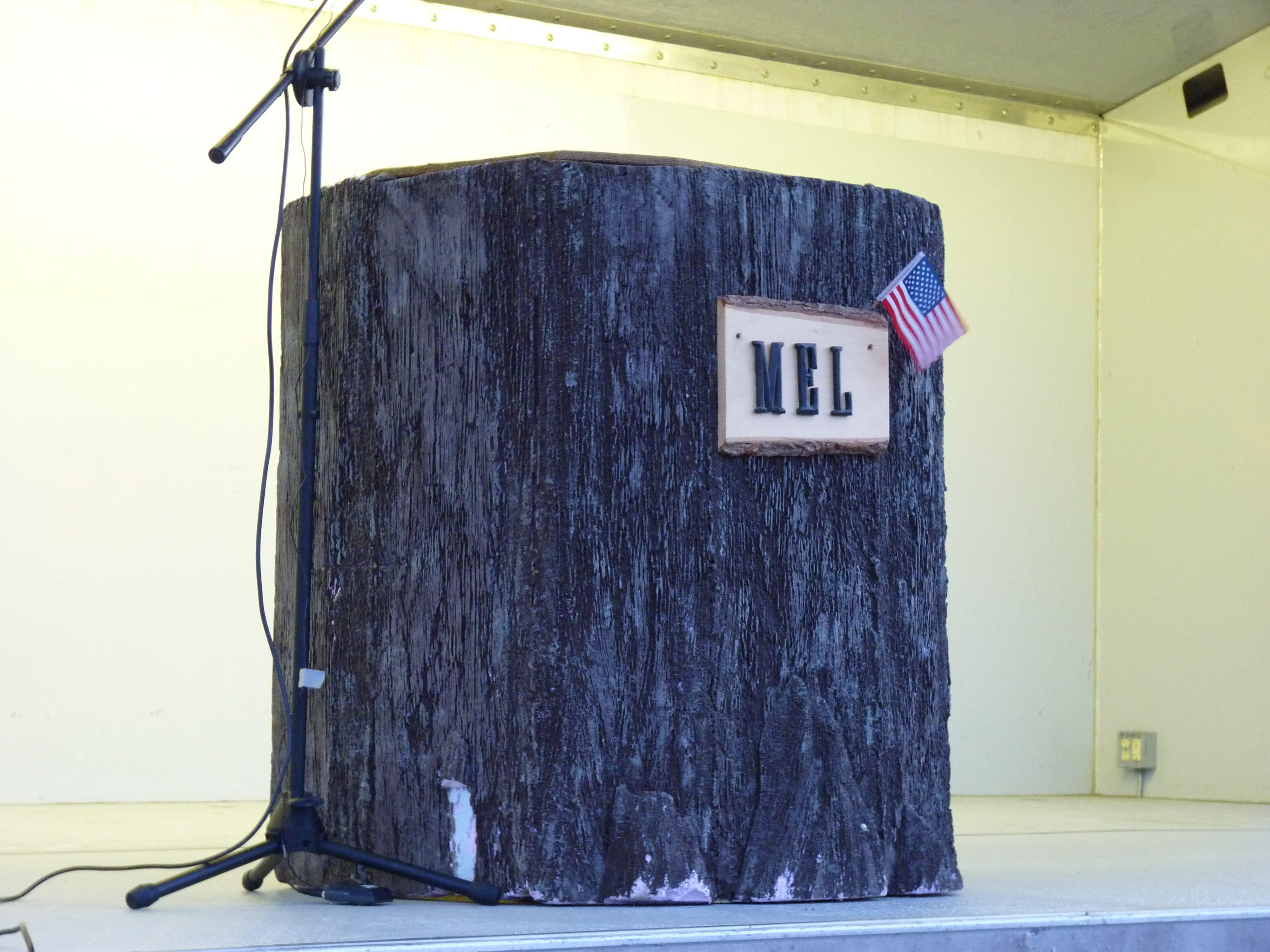Milltown Mel's stump on Groundhog Day