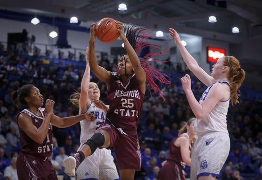 Missouri State freshman Dariauna Lewis pulls down a defensive rebound against Drake on Friday, Feb. 1, 2019, at Knapp Auditorium in Des Moines.