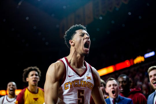 Iowa State's Lindell Wigginton celebrates after scoring three points during the Iowa State men's basketball game against Texas on Saturday, Feb. 2, 2019, in Hilton Coliseum. The Cyclones defeated the Longhorns 65-60.