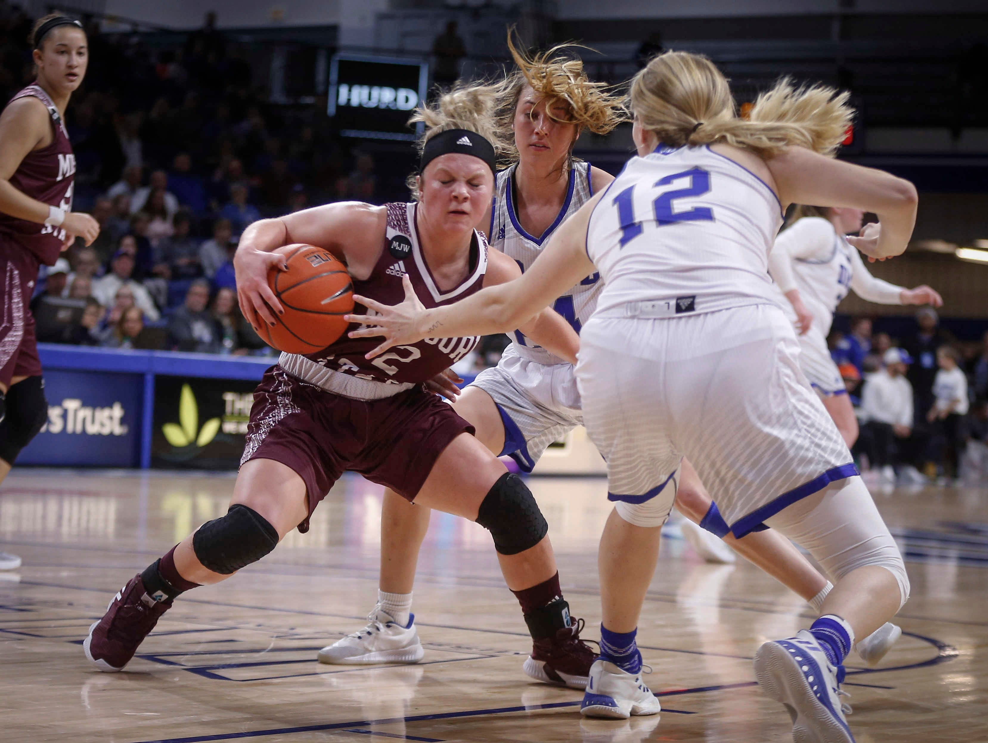 Missouri State sophomore and former Pocahontas Area prep Elle Ruffridge is trapped by the Drake defense on Friday, Feb. 1, 2019, at Knapp Auditorium in Des Moines.