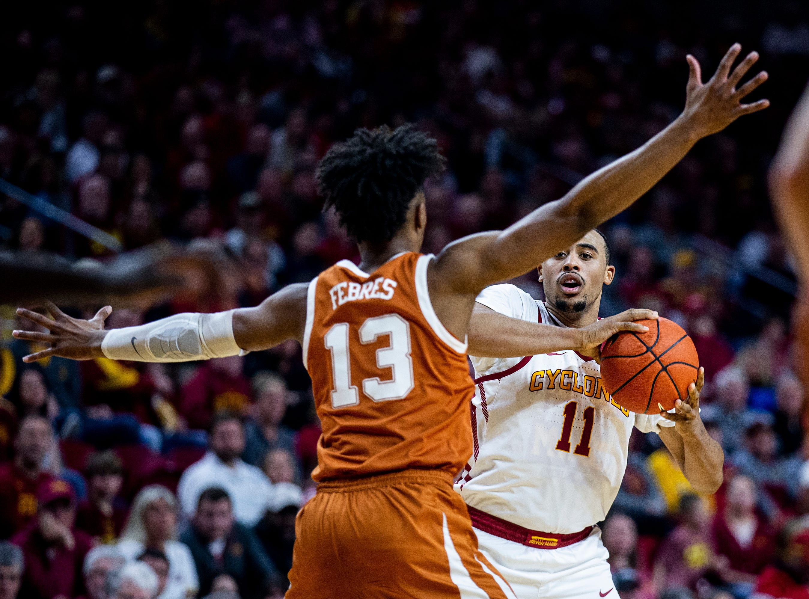 Iowa State's Talen Horton-Tucker looks for an open pass during the Iowa State men's basketball game against Texas on Saturday, Feb. 2, 2019, in Hilton Coliseum. The Cyclones defeated the Longhorns 65-60.