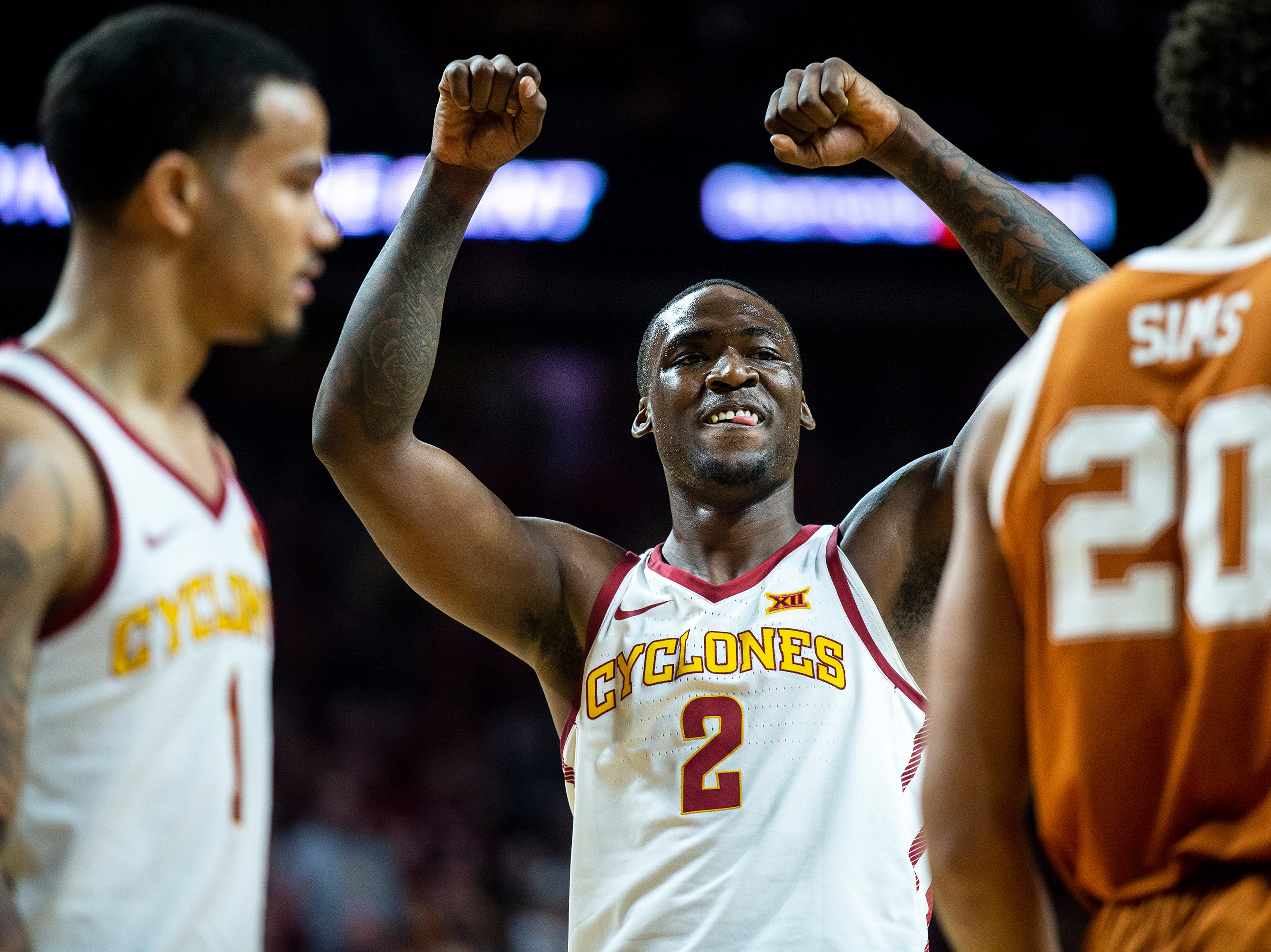 Iowa State's Cameron Lard celebrates after scoring and drawing a foul during the Iowa State men's basketball game against Texas on Saturday, Feb. 2, 2019, in Hilton Coliseum. The Cyclones defeated the Longhorns 65-60.
