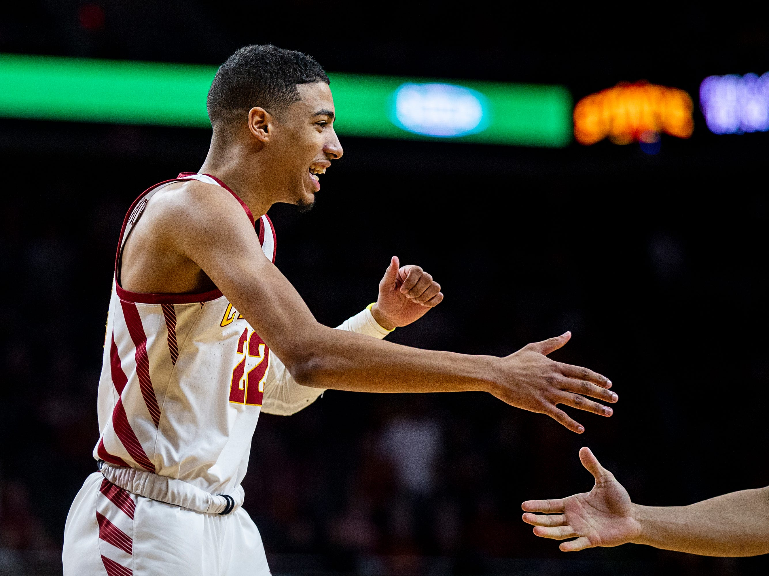 Iowa State's Tyrese Haliburton gets a five from a teammate during the Iowa State men's basketball game against Texas on Saturday, Feb. 2, 2019, in Hilton Coliseum. The Cyclones defeated the Longhorns 65-60.