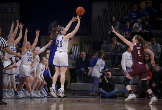 Drake senior Sammie Bachrodt hits a three-point field goal as the bench celebrates against Missouri State on Friday, Feb. 1, 2019, at Knapp Auditorium in Des Moines.
