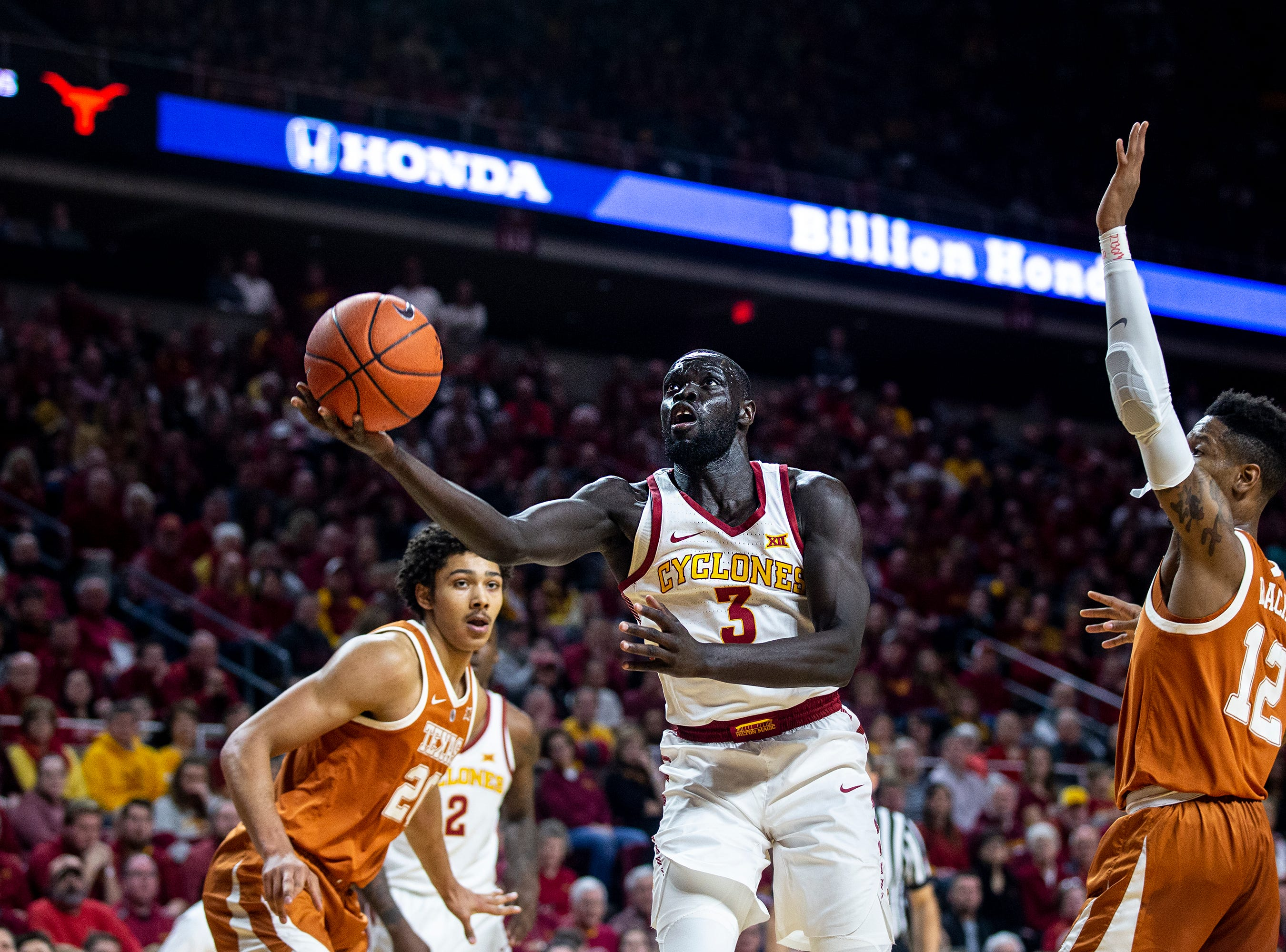 Iowa State's Marial Shayok shoots the ball during the Iowa State men's basketball game against Texas on Saturday, Feb. 2, 2019, in Hilton Coliseum.
