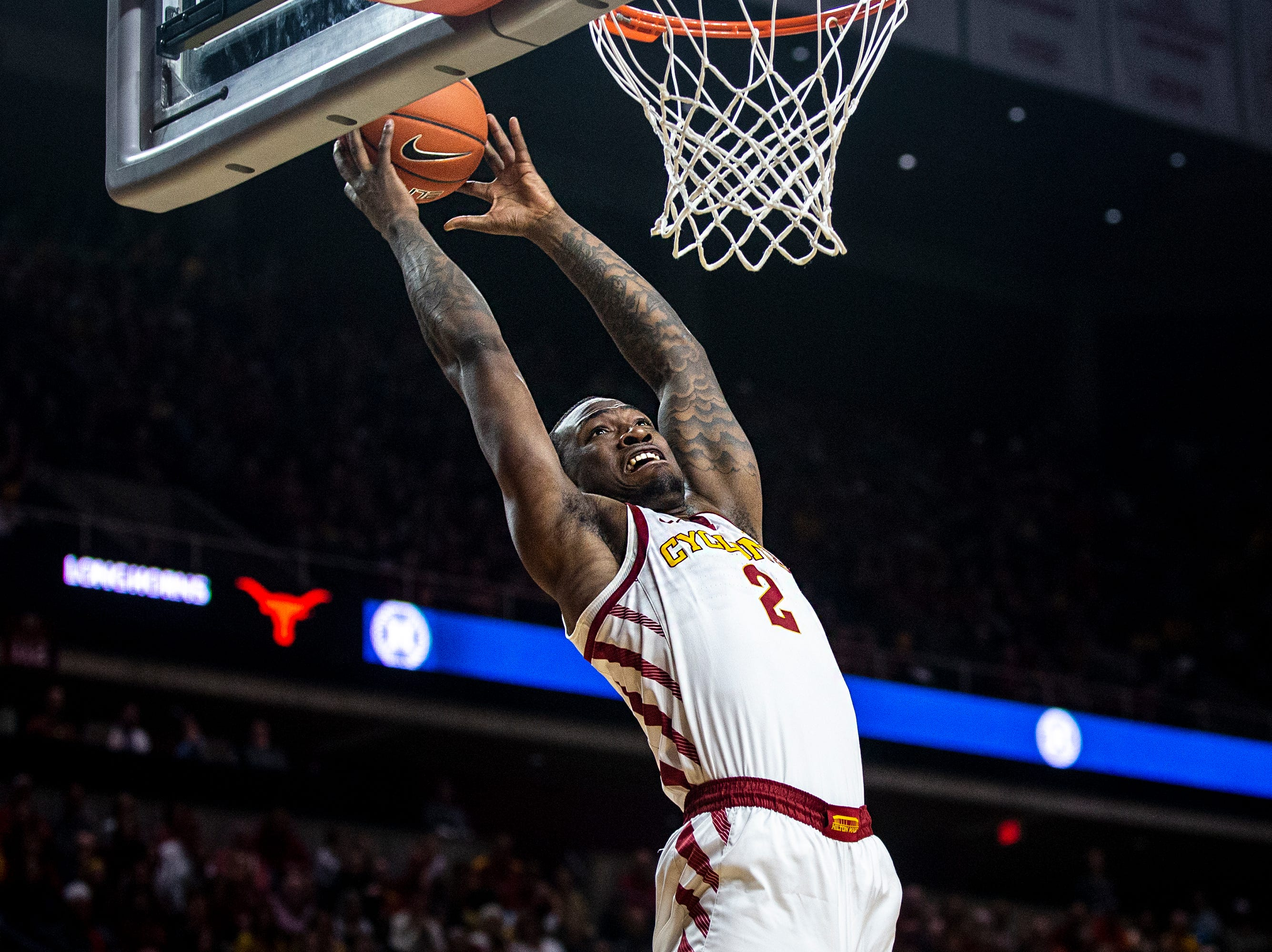 Iowa State's Cameron Lard attempts to score during the Iowa State men's basketball game against Texas on Saturday, Feb. 2, 2019, in Hilton Coliseum.