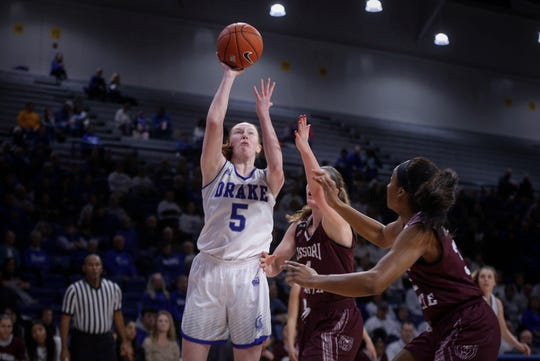 Drake junior Becca Hittner puts up a shot in the first quarter against Missouri State on Friday, Feb. 1, 2019, at Knapp Auditorium in Des Moines.