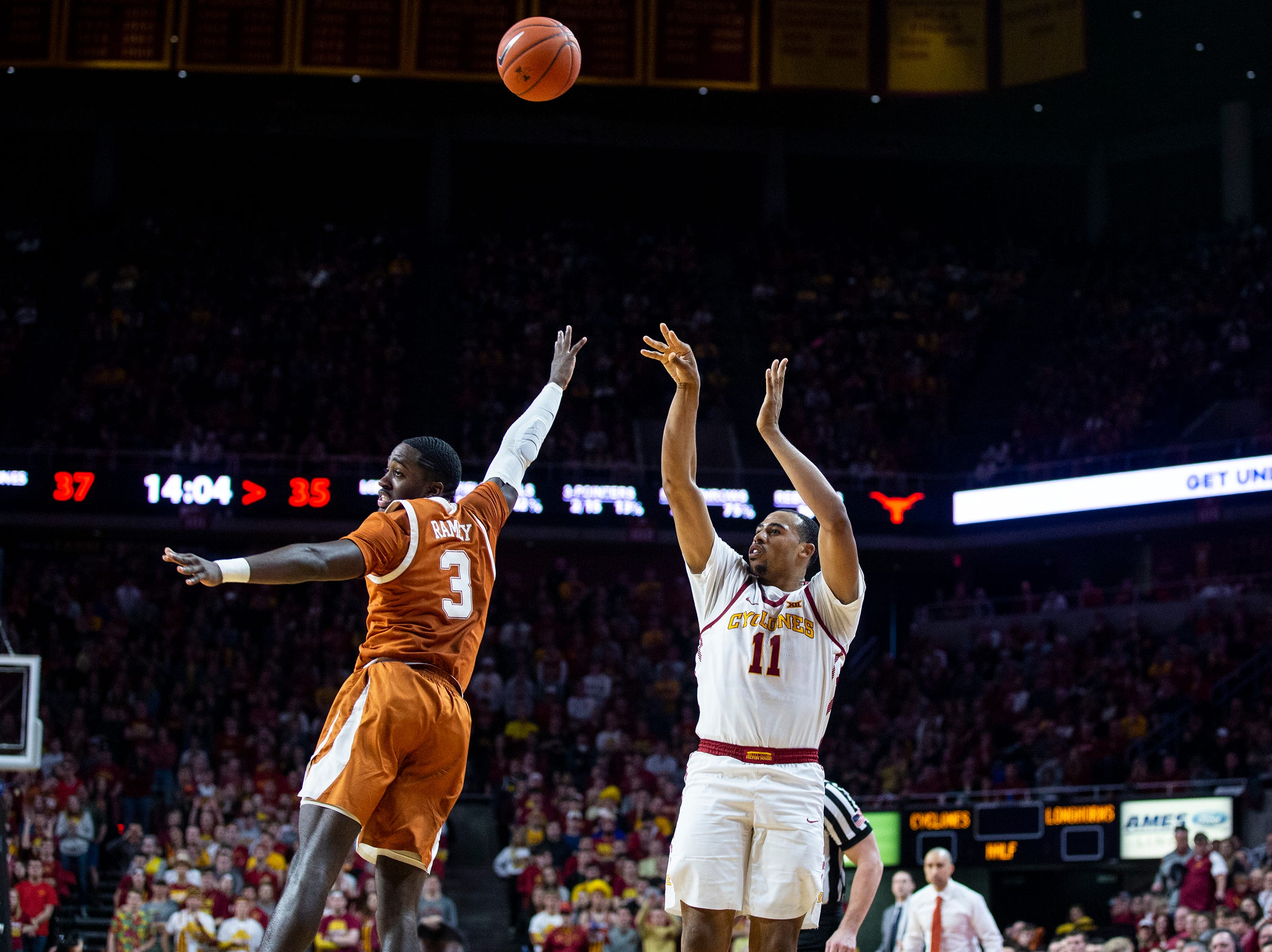 Iowa State's Talen Horton-Tucker shoots the ball during the Iowa State men's basketball game against Texas on Saturday, Feb. 2, 2019, in Hilton Coliseum. The Cyclones defeated the Longhorns 65-60.