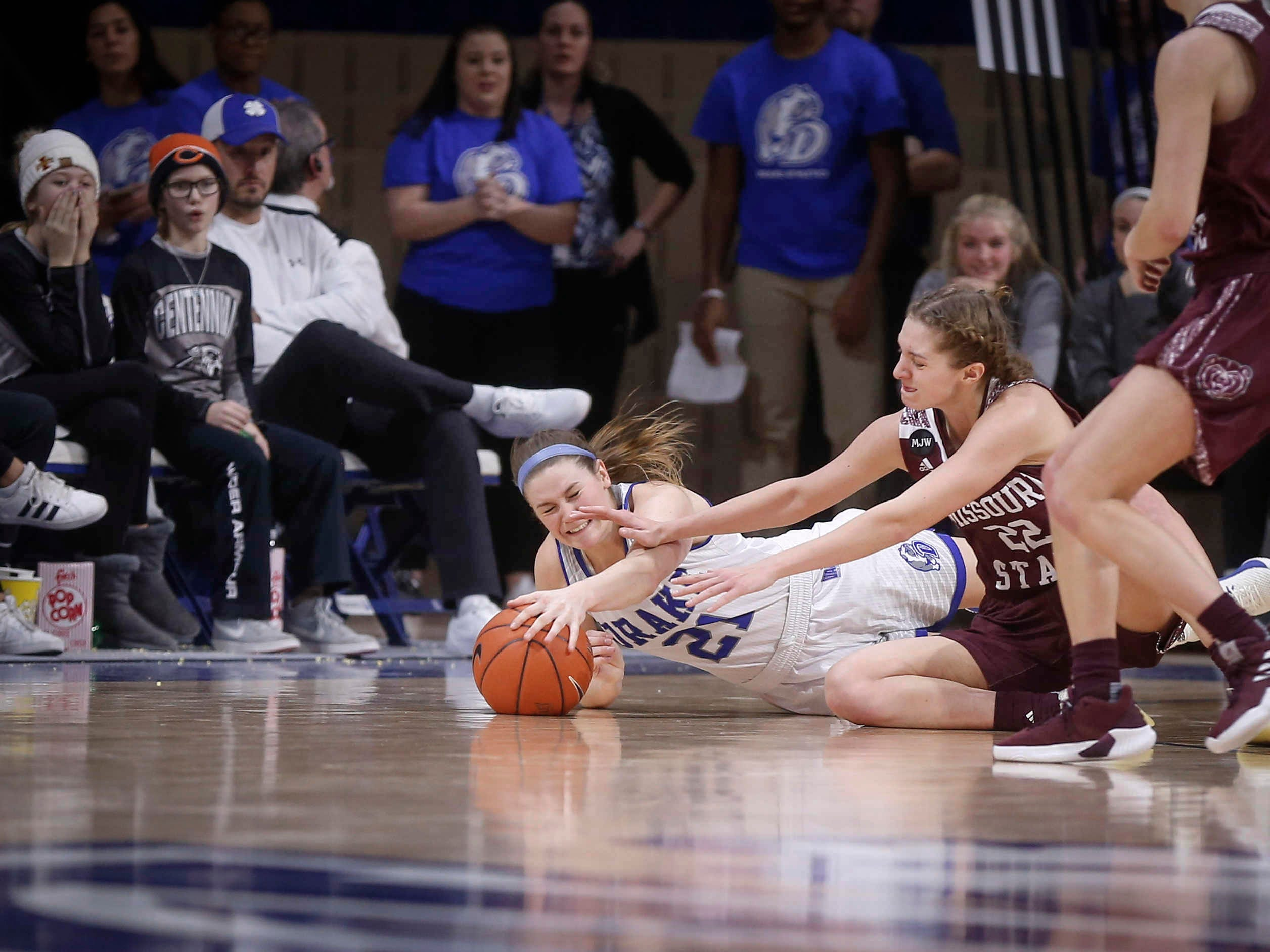 Drake senior Sammie Bachrodt battles Missouri State's Alexa Willard for a loose ball late in the game on Friday, Feb. 1, 2019, at Knapp Auditorium in Des Moines.