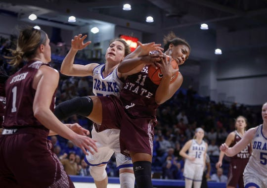 Missouri State sophomore Brice Calip pulls in a defensive rebound against Drake on Friday, Feb. 1, 2019, at Knapp Auditorium in Des Moines.