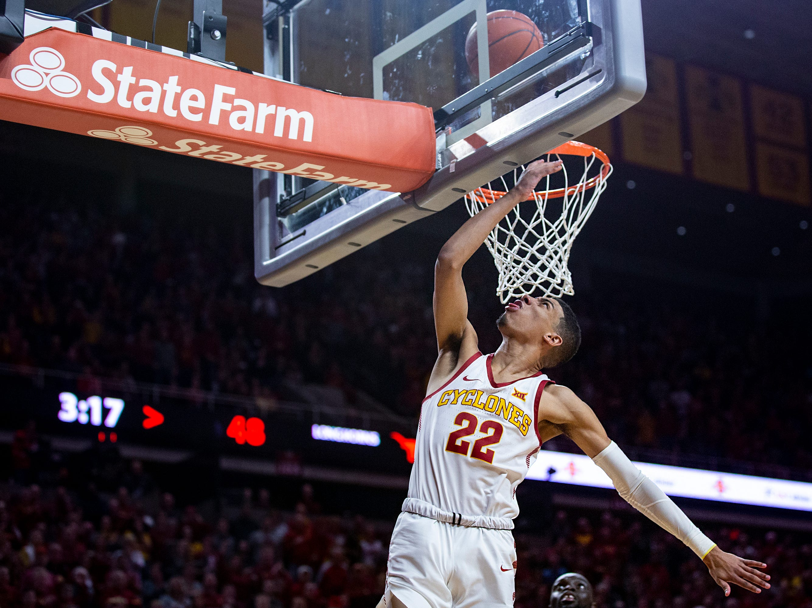 Iowa State's Tyrese Haliburton lays in the ball during the Iowa State men's basketball game against Texas on Saturday, Feb. 2, 2019, in Hilton Coliseum. The Cyclones defeated the Longhorns 65-60.