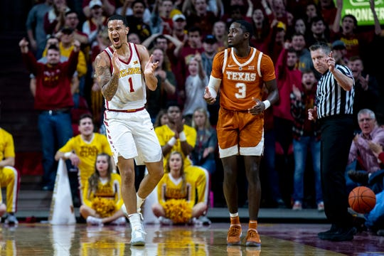 Iowa State's Nick Weiler-Babb celebrates after the Longhorns turn over the ball during the Iowa State men's basketball game against Texas on Saturday, Feb. 2, 2019, in Hilton Coliseum.