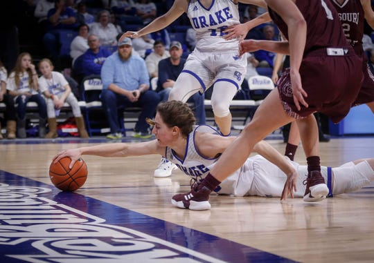 Drake junior Sara Rhine is too late to the basketball as it heads out of bounds late in the fourth quarter against Missouri State on Friday, Feb. 1, 2019, at Knapp Auditorium in Des Moines.