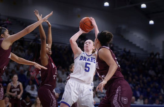 Drake junior Becca Hittner hits a fade-away jump shot late in the second quarter against Missouri State on Friday, Feb. 1, 2019, at Knapp Auditorium in Des Moines.