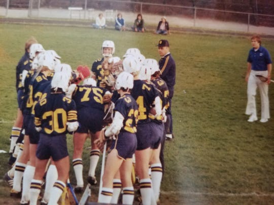 Bill Belichick, far right, during a Country Day lacrosse practice in the 1970s.