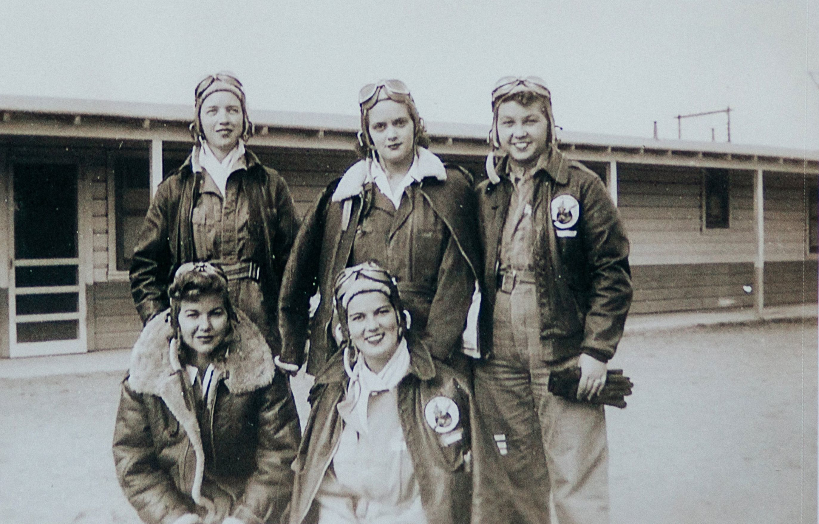 Cadets from the Class 44-W-4, from top left, Dorothy Allen, Mildred (Jane) Baessler (Doyle), and Odean Bishop, from bottom left, Ina Barley and Stella Jo Baker at Avenger Field in Sweetwater, Texas.