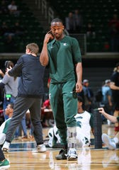 Michigan State's Joshua Langford prior to the game against Indiana at Breslin Center on Feb. 2, 2019.