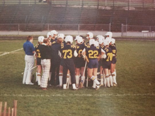 Bill Belichick, left, during a Country Day lacrosse practice in the 1970s.
