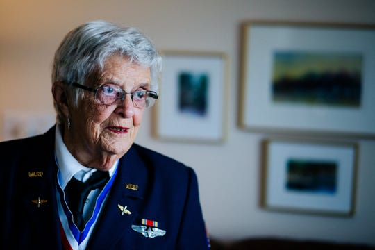 FILE -- Mildred (Jane) Doyle, a member of the Women Airforce Service Pilots during World War II, speaks about her time in the service at her Grand Rapids, Michigan, home on Nov. 7, 2017. Doyle flew military planes in support missions for the U.S. Air Force.