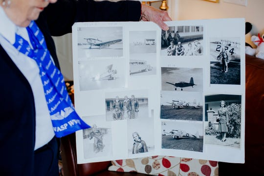 FILE -- Mildred (Jane) Doyle, 96, a member of the Women Airforce Service Pilots during World War II, talks about her time in the service at her Grand Rapids, Mich. home on Nov. 7, 2017. Doyle flew military planes in support missions for the U.S. military.