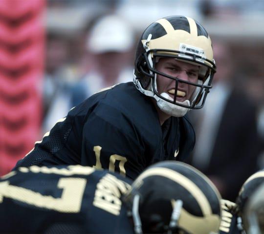 Michigan quarterback Tom Brady gets under center for a few plays against Colorado at Michigan Stadium on Sept 13, 1997.