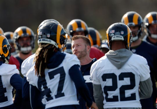 Los Angeles Rams head coach Sean McVay talks to his players during practice for the NFL Super Bowl 53 football game against the New England Patriots, Friday, Feb. 1, 2019, in Flowery Branch, Ga. (AP Photo/John Bazemore)