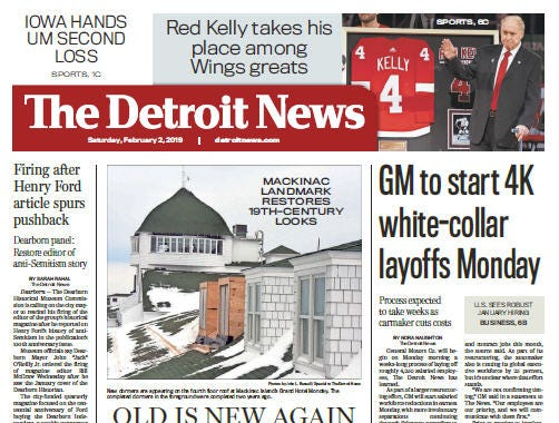 The front page of the Detroit News on February 2, 2019.