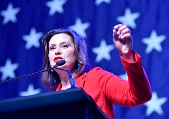 Governor Gretchen Whitmer speaks to supporters.