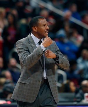 Detroit Pistons head coach Dwane Casey saw his team struggle but eventually beat the Dallas Mavericks Thursday.