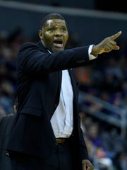 University of Evansville Head Coach Walter McCarty directs his team as they take on the Valparaiso Crusaders at Ford Center in Evansville, Ind., Saturday, Feb. 2, 2019. The Purple Aces snapped back from a four-game losing streak by defeating the Crusaders, 64-53.