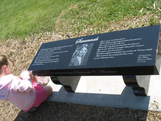 A bench located at a park in the village of St. Nazianz memorializes Savannah Kleinhans, who was 9 years old when she lost her life on Lake Winnebago during the 2009 sturgeon spearing season. Her father, Dan Kleinhans, also died when his truck broke through the ice.