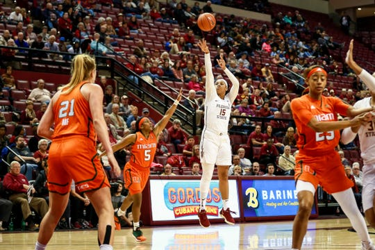 Redshirt junior forward Kiah Gillespie (15) led Florida State with 20 points during the Seminoles 62-58 victory over Miami on Thursday night at the Tucker Center.