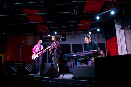 Local indie group bandanna plays at Thursday's CDU showcase. Center, singer/guitarist Anna Griffith; left, bassist Tim Holder; right, keyboardist Mason Palanti; with drummer drummer Nick Bell.