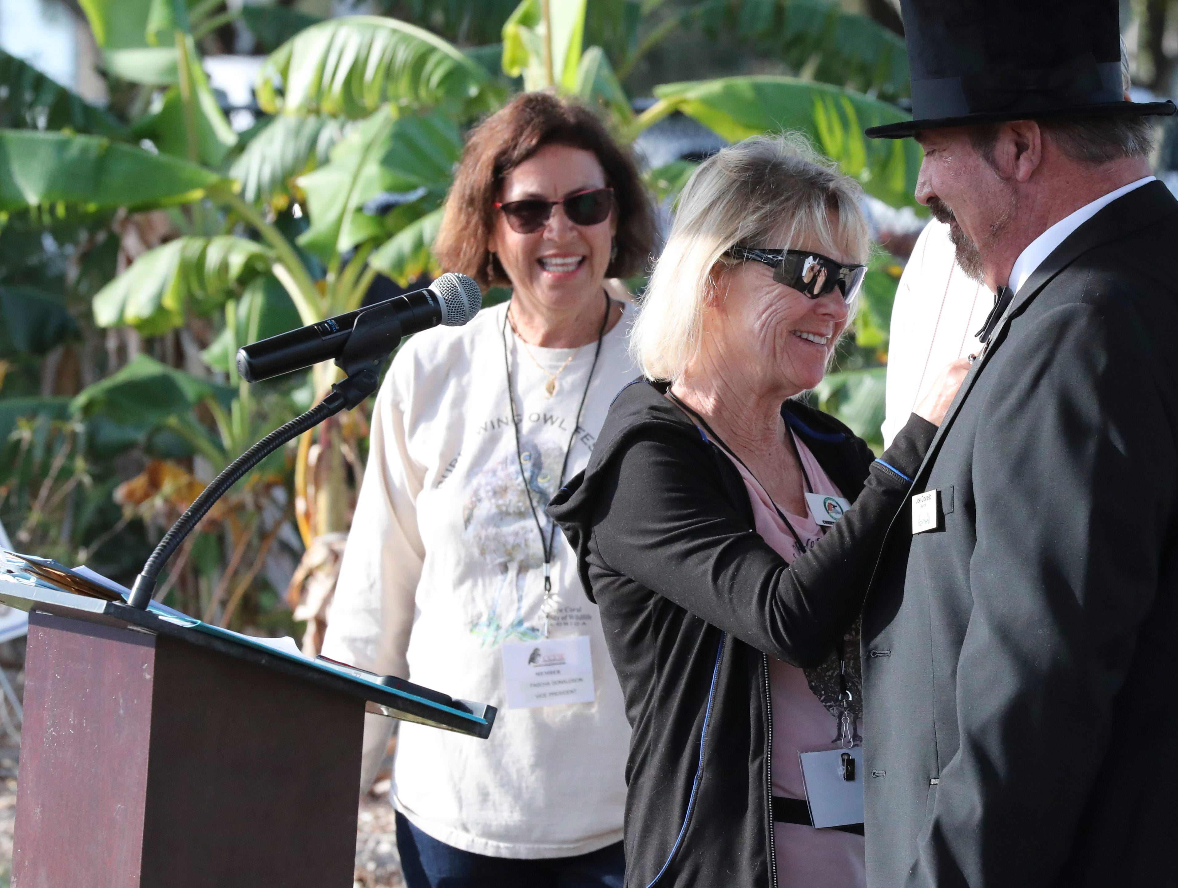 Cape Coral Mayor Joe Coviello, was pinned with an owl pin. Cape Coral's inaugural ÒGround-Owl DayÓ ceremony was Saturday, February 2, 2019. The event was hosted by CCFW and Cape Coral Parks and Recreation at the Rotary Community Garden. The owl naming contest winners were announced as well as the Mayor read a  proclamation. Everyone hoped that the new mascot saw his shadow so six more weeks of Òwinter weatherÓ in Cape Coral could be enjoyed. The winning names for the pair of burrowing owls that live next to the City Hall are Owliver and Owlivia.