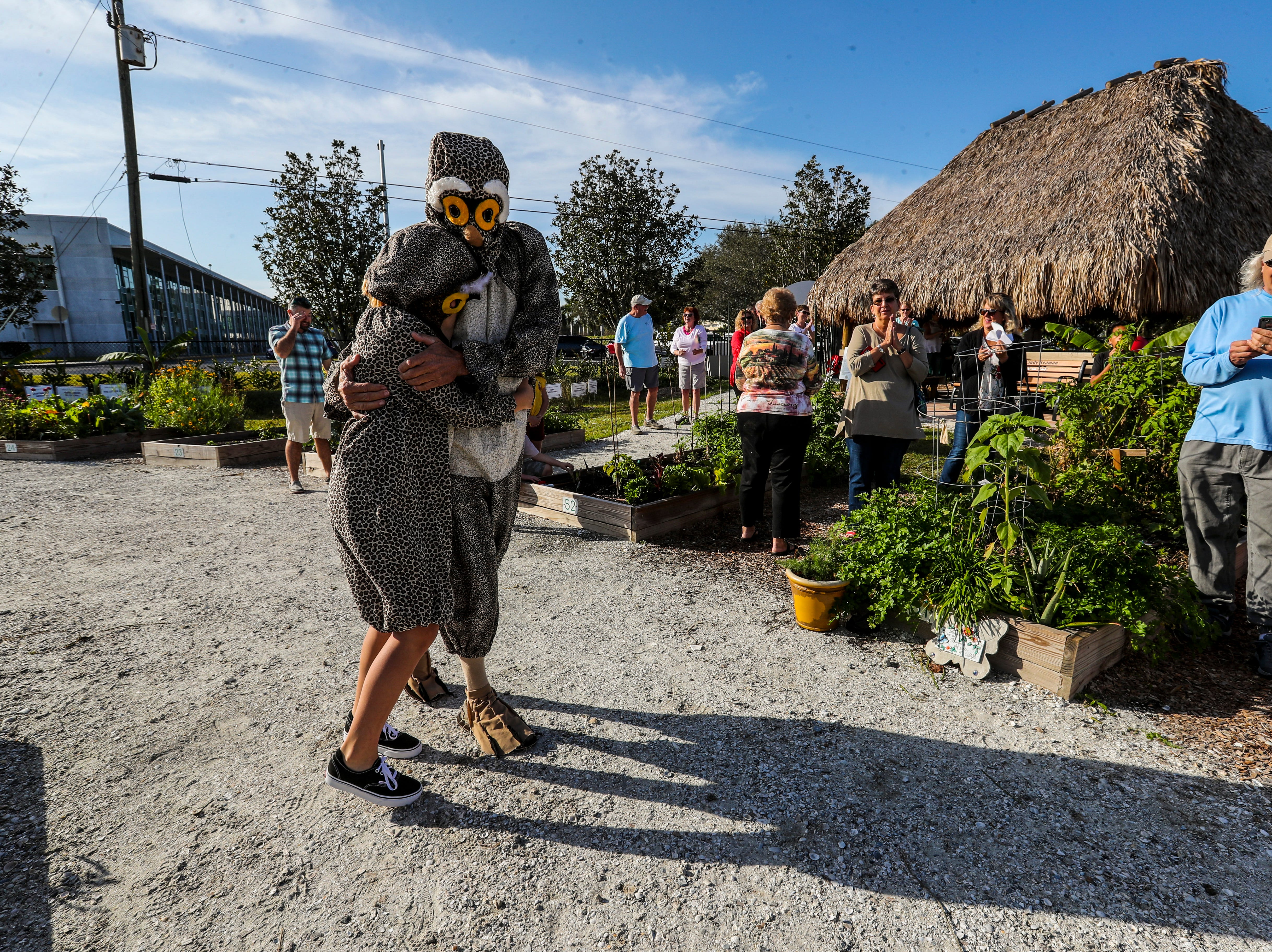 """Elmer Tabor and his granddaughter, Ava Garcia, 12, both of Cape Coral, dressed in burrowing owl costumes for the event. Cape Coral's inaugural """"Ground-Owl Day"""" ceremony was Saturday, February 2, 2019."""