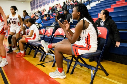 Belton-Honea Path's Aaliyah Thomas (5) roots for her teammates during their game against Pickens on Feb. 1, 2019.
