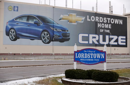 This Tuesday, Nov. 27, 2018 photo shows a mural displayed on a wall at the General Motors' Lordstown plant, in Lordstown, Ohio. The sting from a major restructuring coming this year at General Motors is sure to be felt far beyond the five North American factories that are slated to close in the coming months. Thousands of jobs at auto parts suppliers and other industry-related positions are at stake as well.