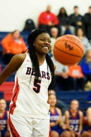 Belton-Honea Path's Aaliyah Thomas (5) shoots layups at the start of their game against Pickens on Feb. 1, 2019. Pickens agreed to allow Thomas, who tore a knee ligament two weeks ago, to shoot four layups at the start of the game to achieve her 1000 point career milestone.