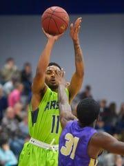 Las Vegas native Jalen Shepard eyes the basket for the University of Providence last season.