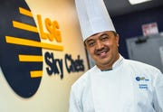 Chef Suharto Suharto, LSG Sky Chefs' executive pastry chef, at the company's office and preparation kitchen facility in Harmon on Thursday, Jan. 31, 2019.