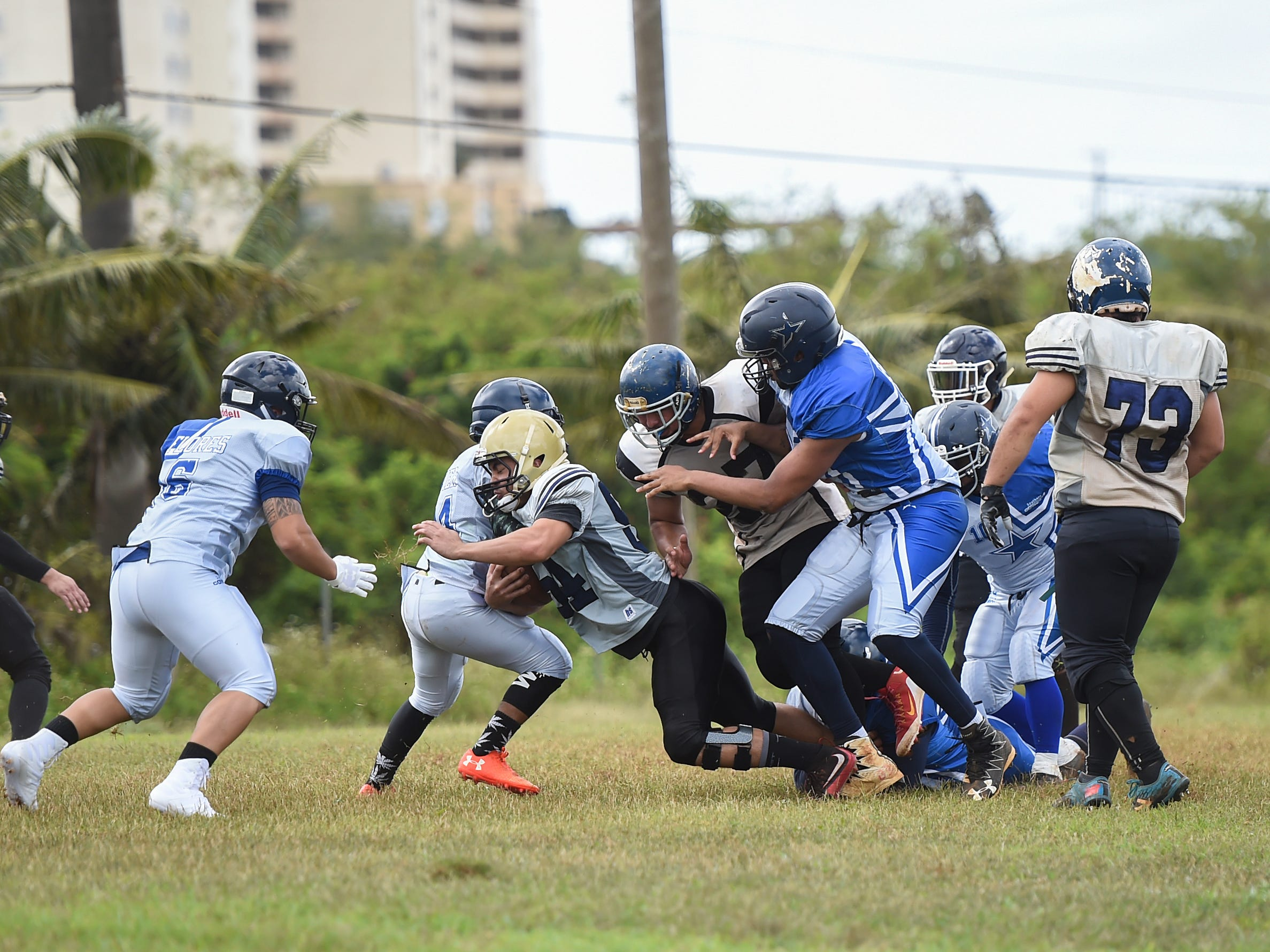 The Southern Cowboys take on the visiting Guam Raiders for their Budweiser Guahan Varsity Football League game at Eagles Field in Mangilao, Feb. 2, 2019.