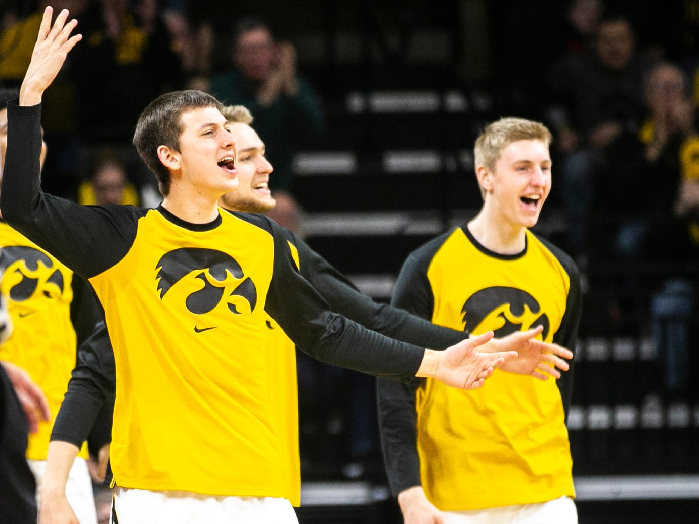 Iowa guard Austin Ash celebrates during a NCAA Big Ten Conference men's basketball game on Friday, Feb. 1, 2019, at Carver-Hawkeye Arena in Iowa City, Iowa.